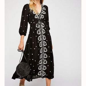 Free People Embroidered Fable Midi Dress size S